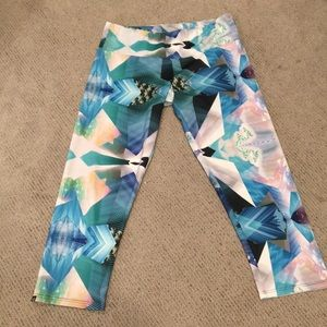 Turquoise and white gym pants
